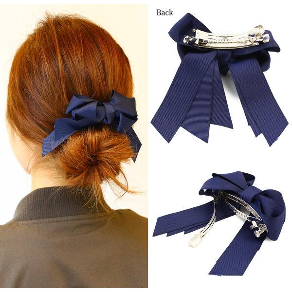 髮夾-三層緞帶蝴蝶結髮夾【日本飾品-OSEWAYA】