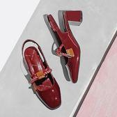 粗跟漆皮方頭綁帶鞋仙女繩結瑪麗珍包頭涼鞋【不二雜貨】