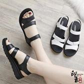 平底女鞋中年中老年舒適女士百搭真皮中跟媽媽鞋涼鞋【印象閣樓】