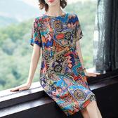 大碼女裝新款碎花連衣裙中老年媽媽裝闊太太胖mm顯瘦減齡春夏裝潮 瑪麗蘇