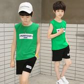 男童純棉背心兩件套裝夏季韓版冰瓷棉無袖中大童13歲潮   初見居家
