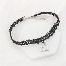 預購 - 黑色編織繩頸鍊項鍊-簍空愛心