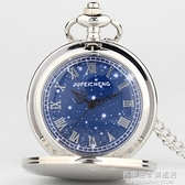 夜光歐美風新款懷錶復古翻蓋滿天星星空男女學生項錬掛錶簡約項錬 名購居家
