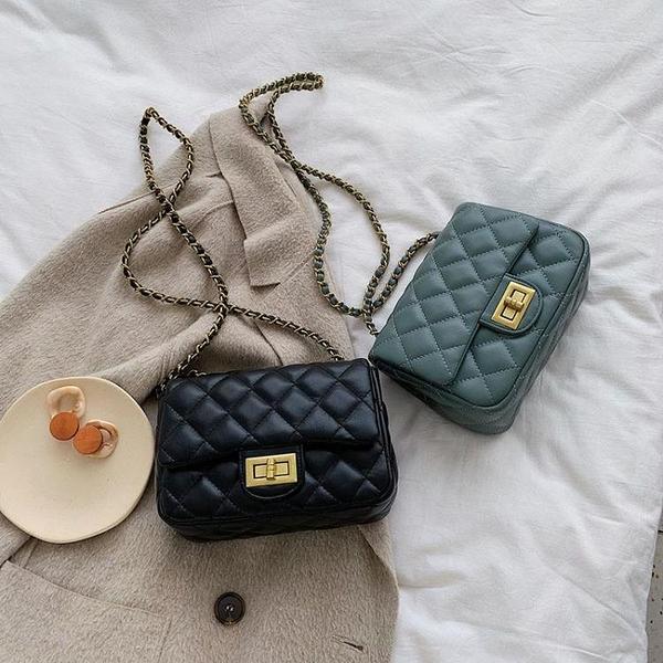 質感包包女新款時尚洋氣菱格鏈條韓版百搭繡線單肩斜挎小方包