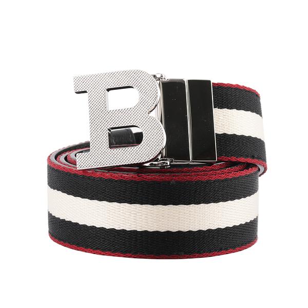 【BALLY】B-BUCKLE 3.5cm 紅邊織帶雙面腰帶 85/90/95/100/105cm (黑色/白色) 6235339