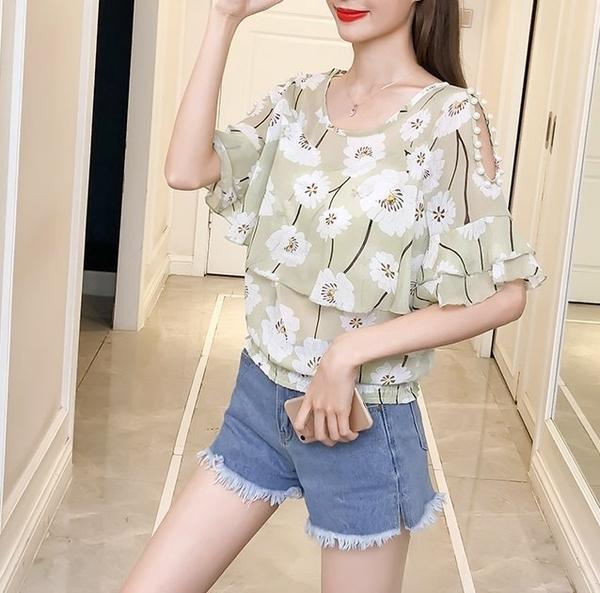 FINDSENSE H1 2018 夏季 新款 韓國 清新 甜美 碎花 雪紡衫