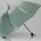 遮陽傘 黑膠晴雨兩用公主傘學生可愛遮陽三折傘【快速出貨八折鉅惠】