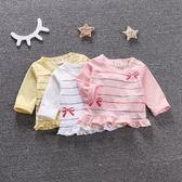618好康鉅惠女童春裝寶寶條紋打底衫圓領純棉t恤