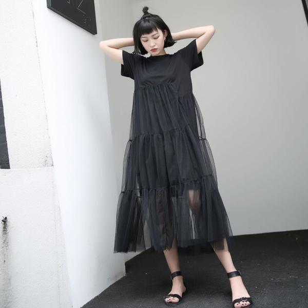 現貨 網紗拼接假兩件洋裝連身裙小禮服【13-16-8411-19】ibella 艾貝拉