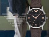 【時間道】EMPORIO ARMANI亞曼尼 簡約羅馬刻皮帶腕錶/黑面玫瑰金刻深棕皮(AR11153)免運費