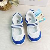 《7+1童鞋》中童 日本IFME 透氣 魔鬼氈 輕量 機能 室內鞋 E401 藍色