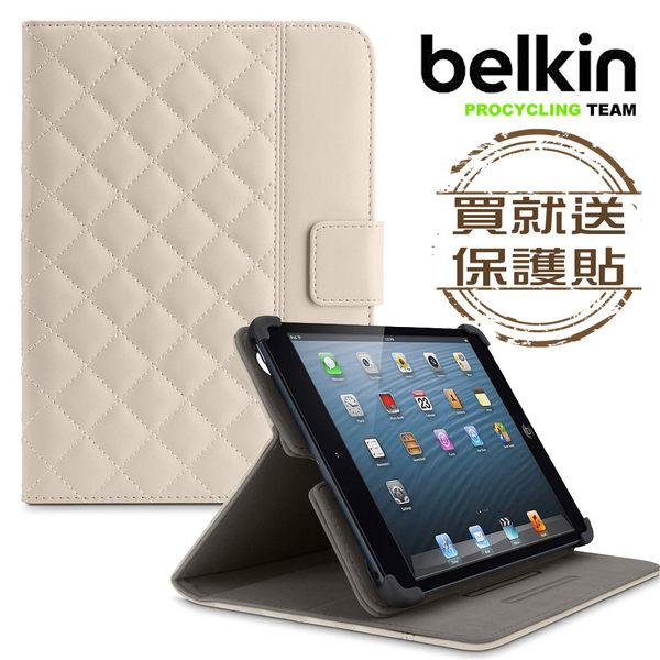 Belkin iPad mini/mini2/mini3全包覆方格菱紋保護套(米白)附保貼
