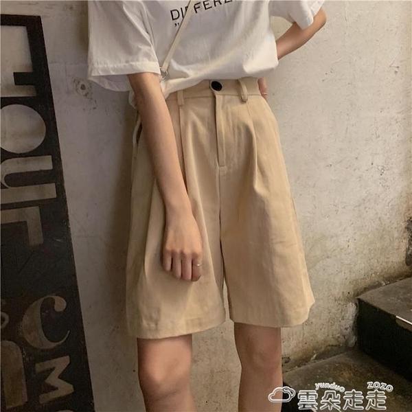 工裝短褲工裝五分褲女裝夏季薄款寬鬆復古休閒褲短褲高腰闊腿褲中褲ins潮 雲朵 618購物