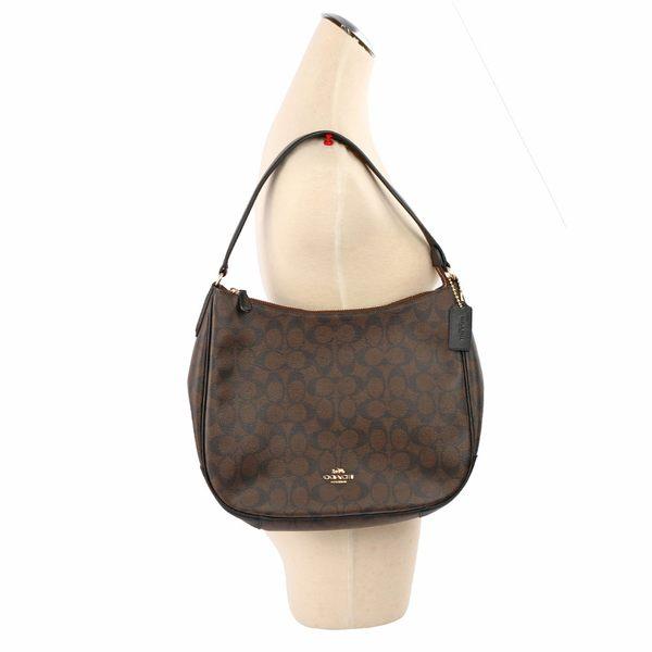 【COACH】PVC LOGO彎月肩背包(巧克力) F29209 IMAA8