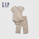 Gap嬰兒 純棉短袖包屁衣長褲套裝 692553-淺紫灰