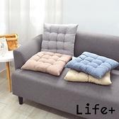 【 Life+】日系無印風 棉麻格紋透氣坐墊/椅墊/靠墊(2入組)淺灰+霧藍