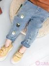 小童牛仔褲時尚韓版1-3歲潮褲男寶寶卡通印花長褲休閒褲子