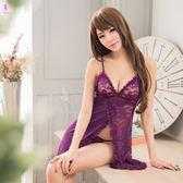 情趣內衣 深紫色開襟柔緞緹花網紗睡衣二件組 情趣睡衣 女衣閨蜜萌萌《生活美學》