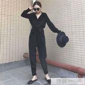 秋冬新款韓版女裝氣質寬鬆V領絲絨休閒顯瘦小香風套裝兩件套 韓慕精品