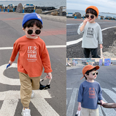 童裝寶寶長袖T恤2019秋裝新款男童字母純色圓領休閒打底衫