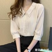 雙層娃娃領襯衫女設計感小眾2020夏新款韓版半袖上衣燈籠袖雪紡衫『蘑菇街小屋』