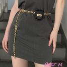 裝飾腰包腰帶女裝飾鍊條時尚百搭金屬皮帶配裙子細腰腰包配飾腰鍊夏季收腰 JUST M