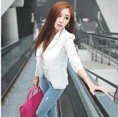 韓版女裝修身蕾絲拼接小西服西裝女外套
