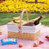 藤編柳編野餐籃 收納籃 購物籃 戶外手提籃 帶蓋藤編籃子 禮品籃吾本良品
