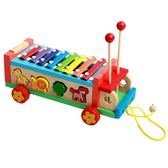 木制质动物拖拉玩具嬰幼兒童益智男女孩音樂寶寶手敲八音 igo全館免運