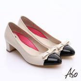 A.S.O 職場女力 鏡面真皮拼接復古粗跟中跟鞋  白