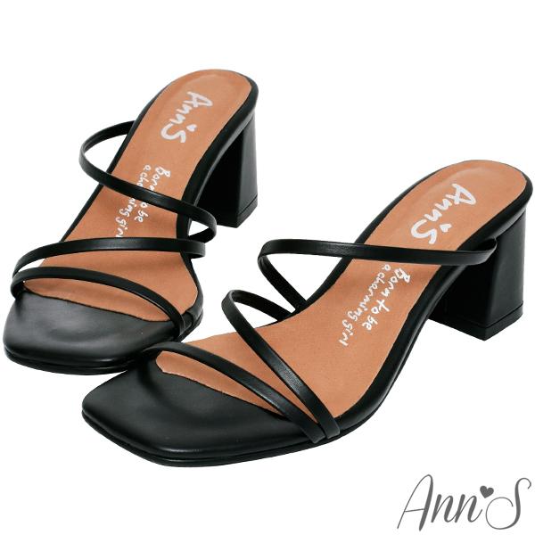 Ann'S魔法美腿術-顯瘦Z型弧度方頭粗跟涼拖鞋-黑