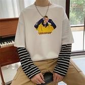 潮流寬鬆長袖T恤男港風春季假兩件圓領衛衣學生ins百搭條紋上衣服 降價兩天