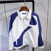 牛仔外套男飛行員帥氣情侶夾克衫工裝bf夾克日繫復古  伊莎公主