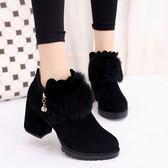 短靴女韓版百搭磨砂裸靴及踝靴保暖粗跟高跟女鞋 優家小鋪