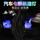 汽車氛圍燈車載LED聲控節奏燈 USB免改裝內飾燈車內燈腳窩氣氛燈 野外之家