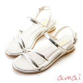 amai《12星座 - Virgo處女座》希臘風金屬雙繫帶涼鞋 白