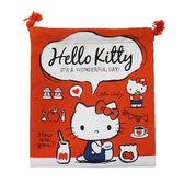 【日本進口正版】凱蒂貓 HelloKitty 紅色款 帆布 束口袋 收納袋 抽繩束口袋 三麗鷗 - 424954