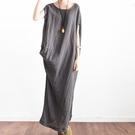 洋裝-長款寬版左右不對稱純色棉麻女連身裙...