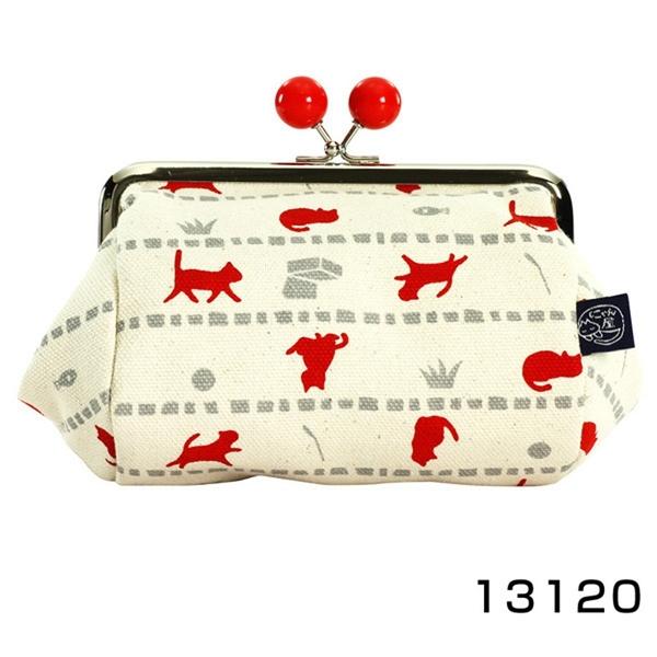 【日本製】貓帆布系列 寬底萬用零錢包 貓咪與寶物圖案 紅色 SD-7074 - 日本製 貓帆布系列