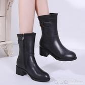 歐美版 百麗真皮中筒靴女秋冬短靴粗跟馬丁靴中低跟女靴 深藏blue