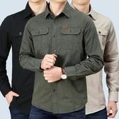 男裝秋季純棉襯衫長袖男寬鬆休閒純棉襯衣工裝上衣男士外套 韓國時尚週