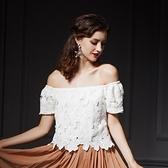 一字領短袖上衣-情人節穿搭時尚唯美優雅蕾絲女裝73ll12【巴黎精品】