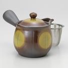 日本陶壺【萬古燒】未來型 金黃 橫手急須0.4L 泡茶壺