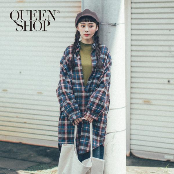 Queen Shop【01023541】配色格紋磨毛長版襯衫*現+預*