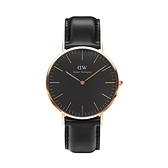 【Daniel Wellington】CLASSIC瑞典時尚品牌經典簡約真皮腕錶-爵士黑x玫金-40mm/DW00100127/原廠兩年保固