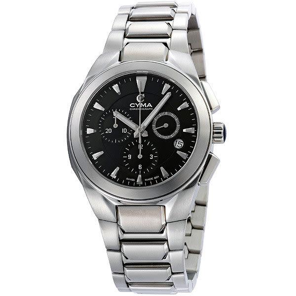 CYMA 簡約都會三眼計時錶(黑)