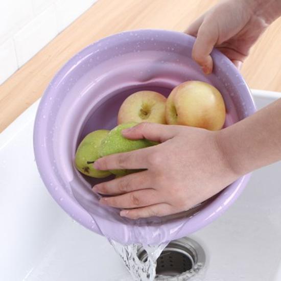 洗臉盆 水桶 折疊收納籃 瀝水籃 可折疊 洗碗 2.5L 洗菜 塑料盆 可掛式 可折疊臉盆【R001】慢思行