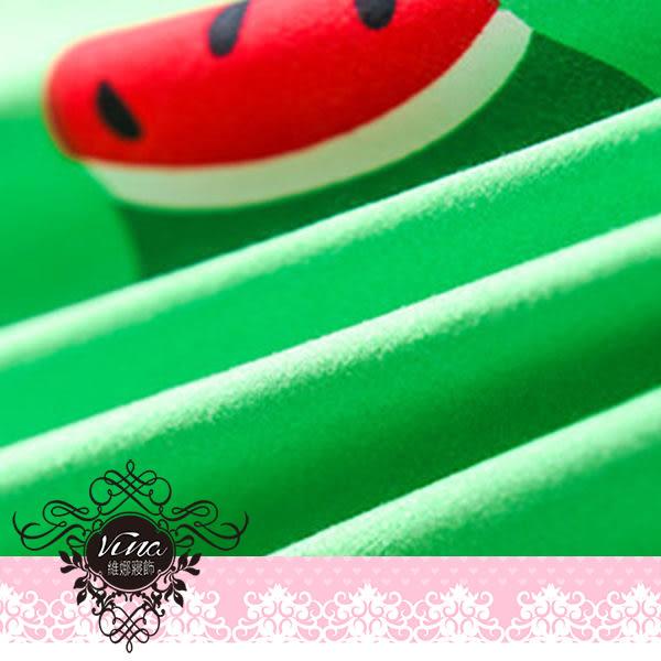 《可愛小西瓜》百貨專櫃精品雙人薄床包被套四件組 100%MIT台製舒柔棉-(5*6.2尺)