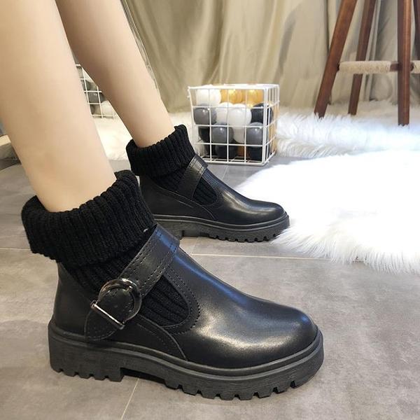 促銷大碼鞋 35-43碼 大碼女鞋毛線口馬丁靴女秋冬厚底加棉短靴41網紅機車靴42