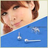 婉約含蓄 精簡迷你銀珠耳環 2mm 925純銀耳環 - 維克維娜